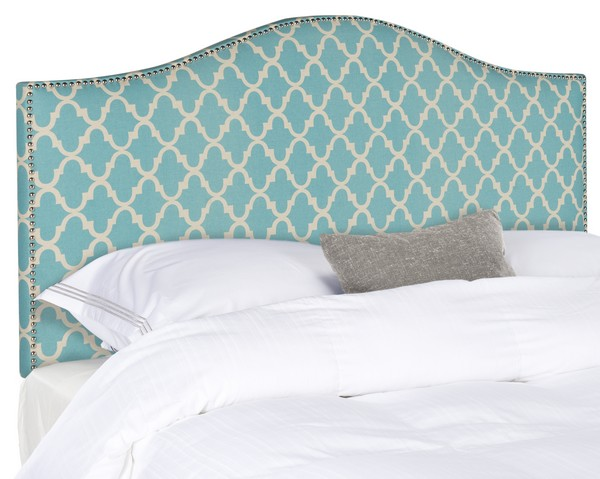 Connie Blue & White Linen Headboard – Silver Nail Heads