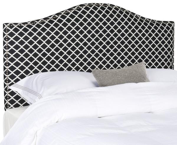 Connie Black & White  Headboard – Silver Nail Head