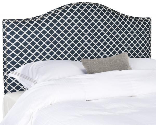 Connie Navy & White Headboard – Silver Nail Heads