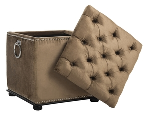 ARTURO STORAGE OTTOMAN   WITH SILVER NAIL HEADS Item: MCR4694A Color:  GOLDEN OLIVE