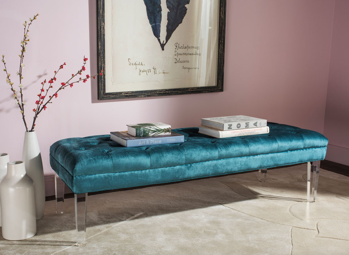 ABROSIA TUFTED BENCH MCR4699C BENCHES. Color: Cyan