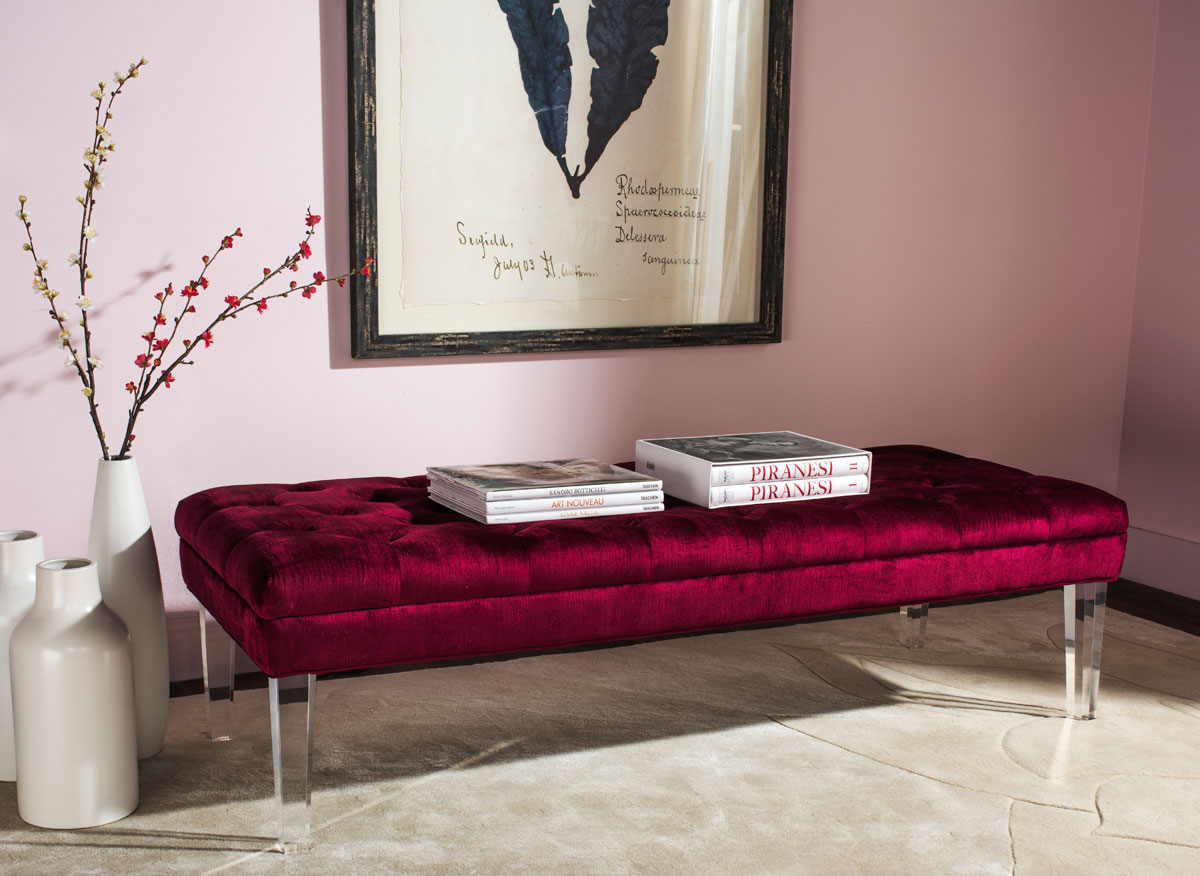 Red Velvet Bench Benches Collection Safavieh Com