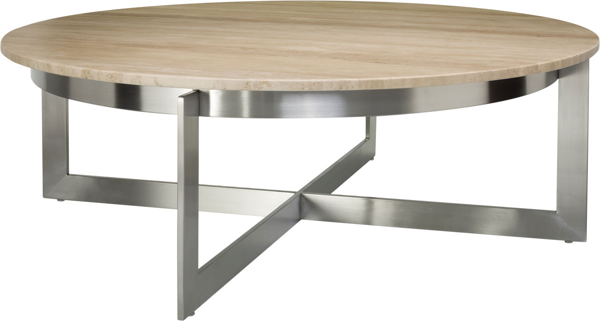 The Irma Round Cocktail Table Brings Premiere Luxury To Any Contemporary  Interior With Its Rich Travertine Marble Top Sitting Affably Upon Its Solid  ...