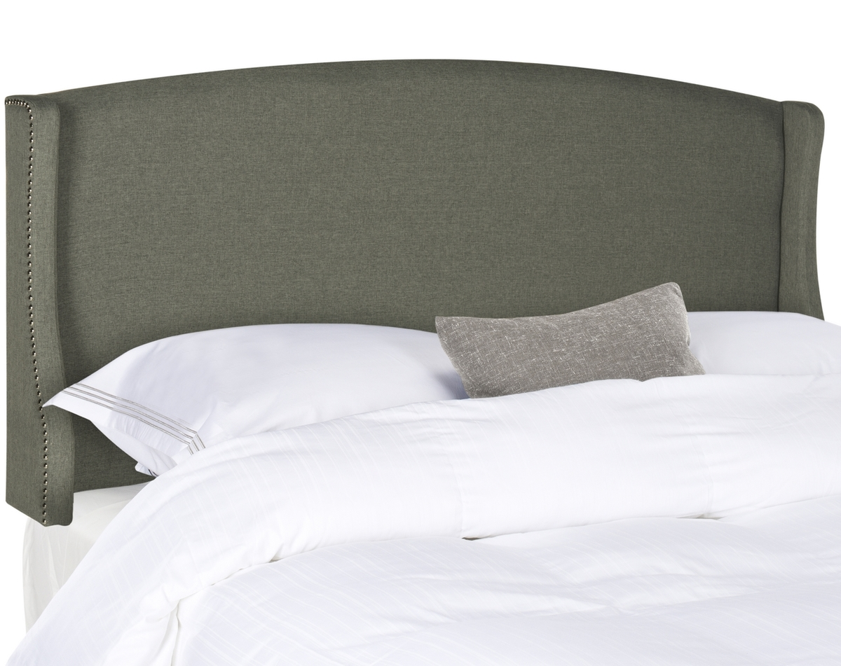 Austin Grey Winged Linen Headboard Silver Nail Heads Headboards Furniture By Safavieh
