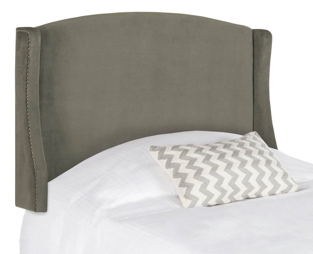 Austin Pewter Winged Headboard - Silver Nail Heads
