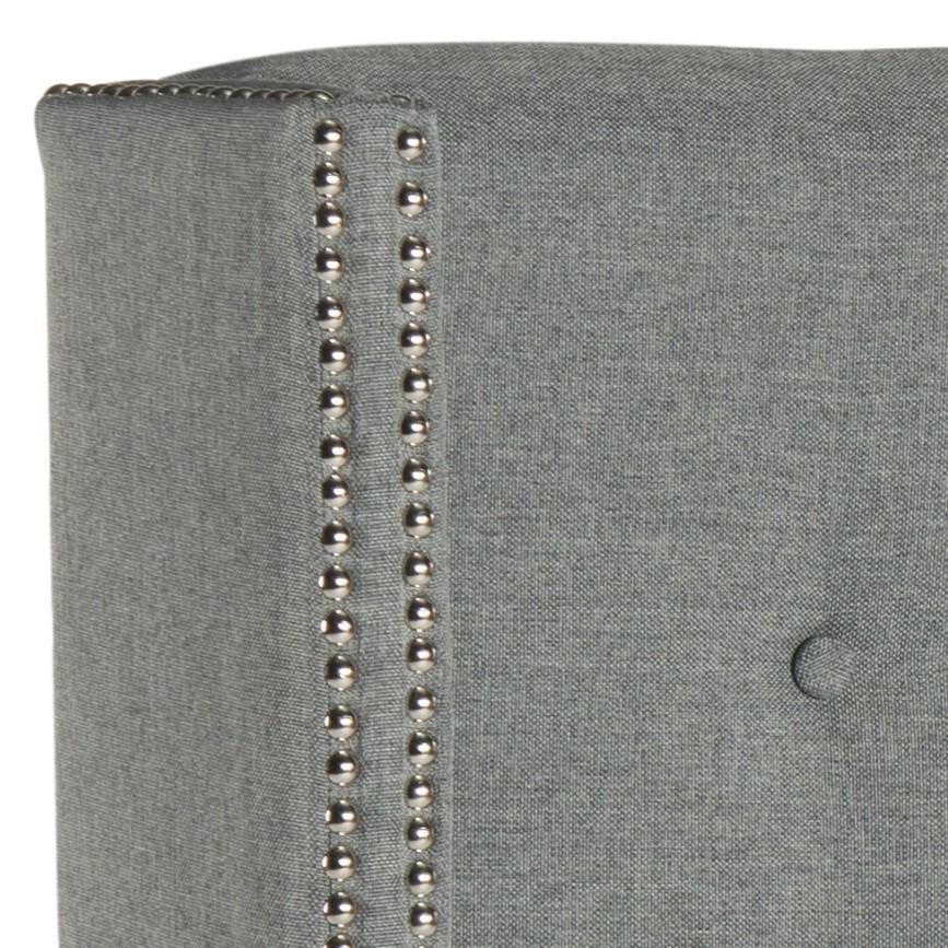 silver tufted bed keegan grey linen tufted winged headboard silver nail head