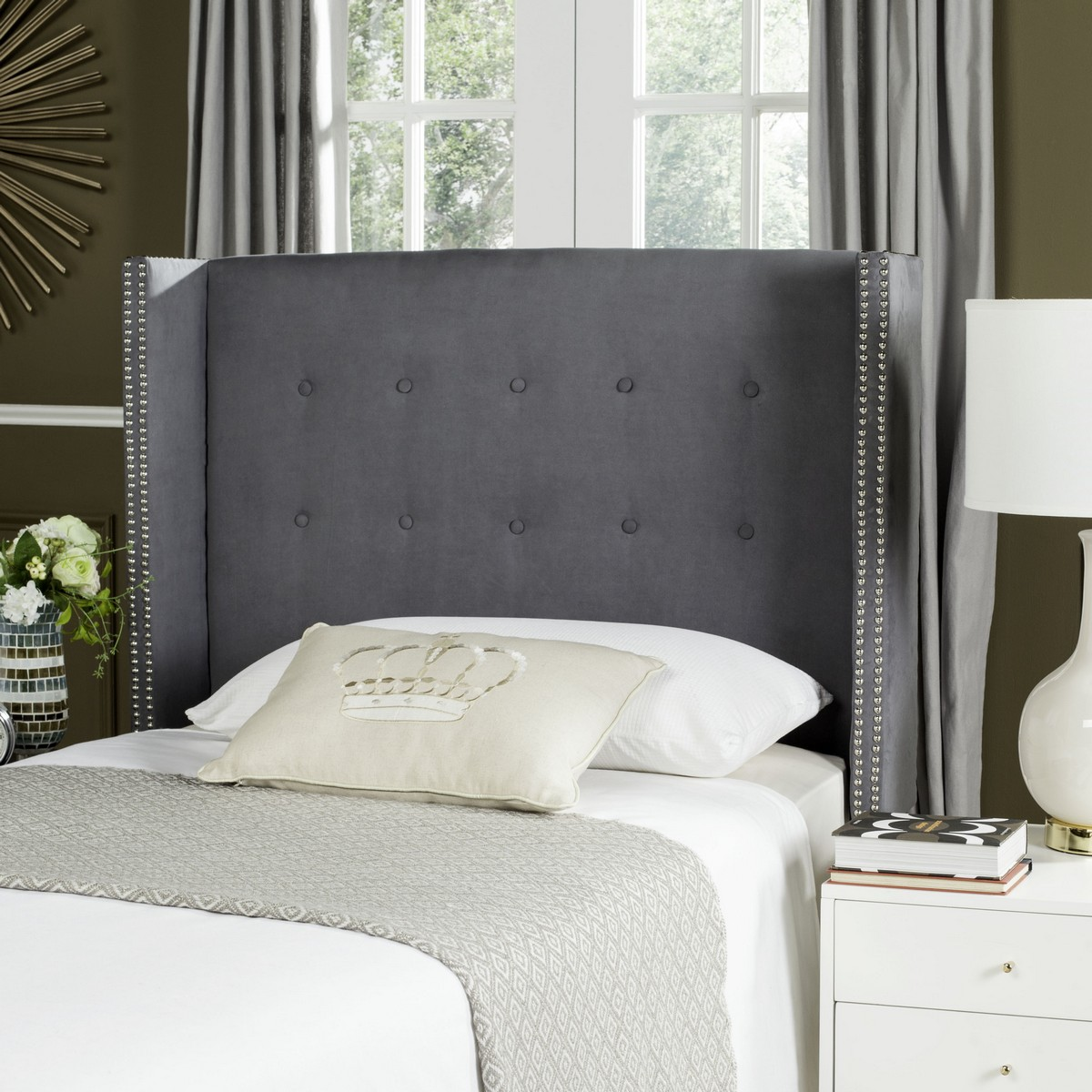 soughtafter fivestar hotel this winged headboard is for the new elite upholstered in sumptuous grey velvet and finished with silver nailhead trim