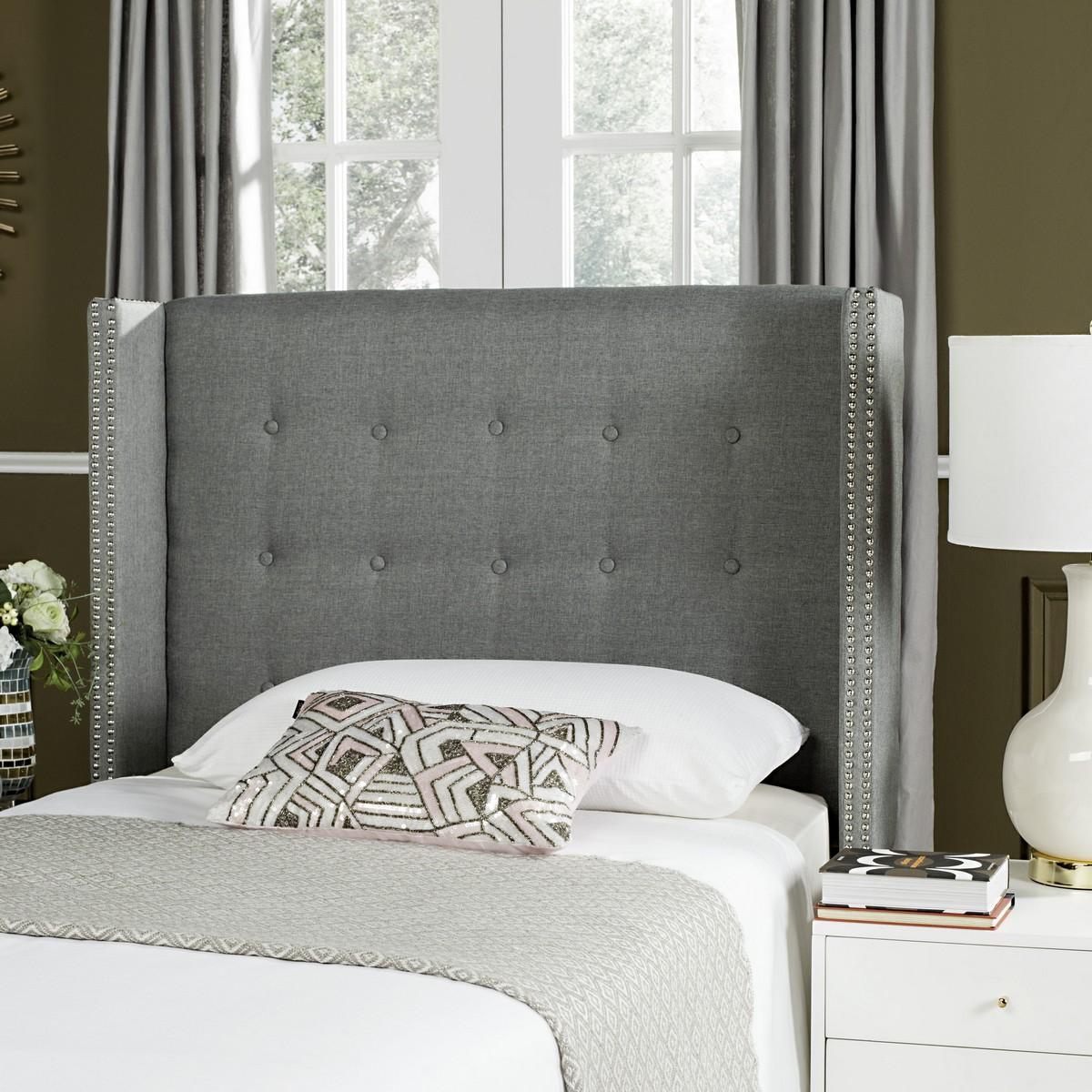 Keegan Grey Linen Tufted Winged Headboard Silver Nail
