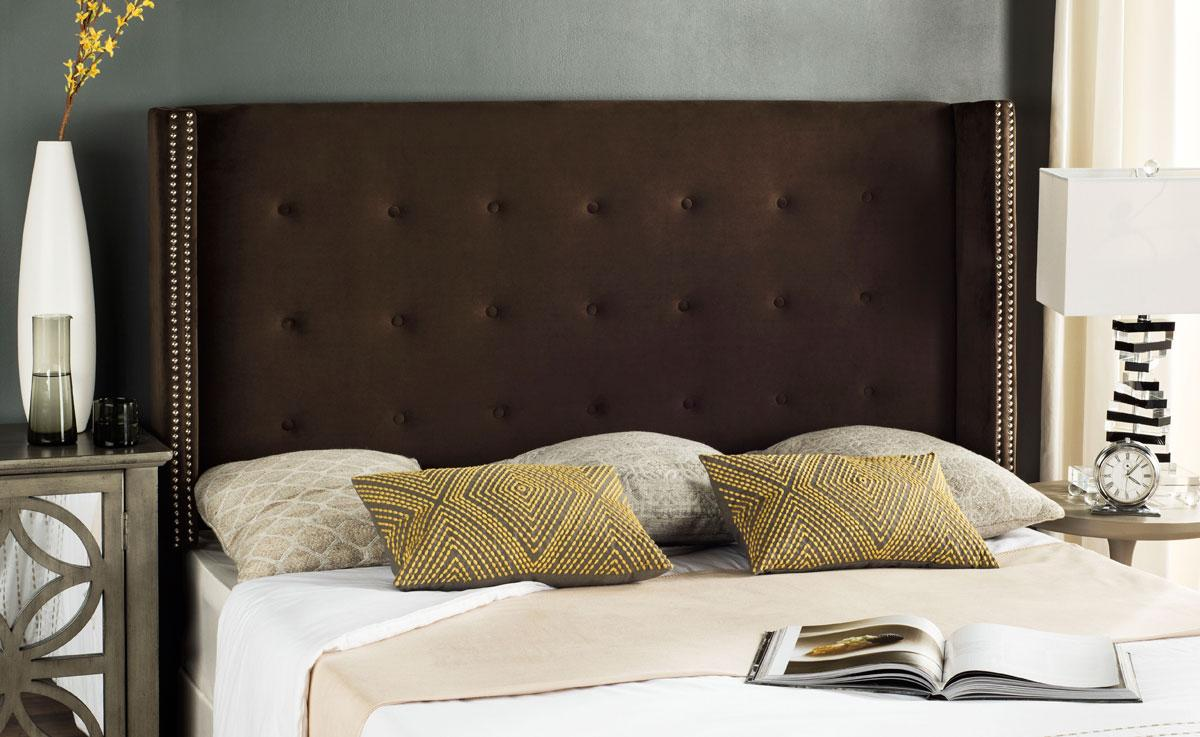 Dramatic and sophisticated, the rich chocolate brown hue of this velvet  headboard creates a landscape for the sweetest of dreams.