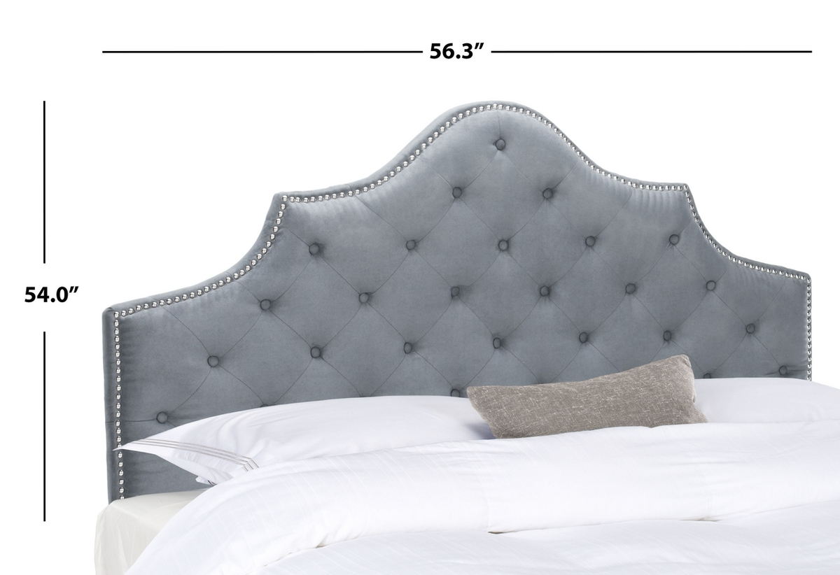 Arebelle Grey Tufted Headboard Silver Nail Head Headboards Furniture By Safavieh