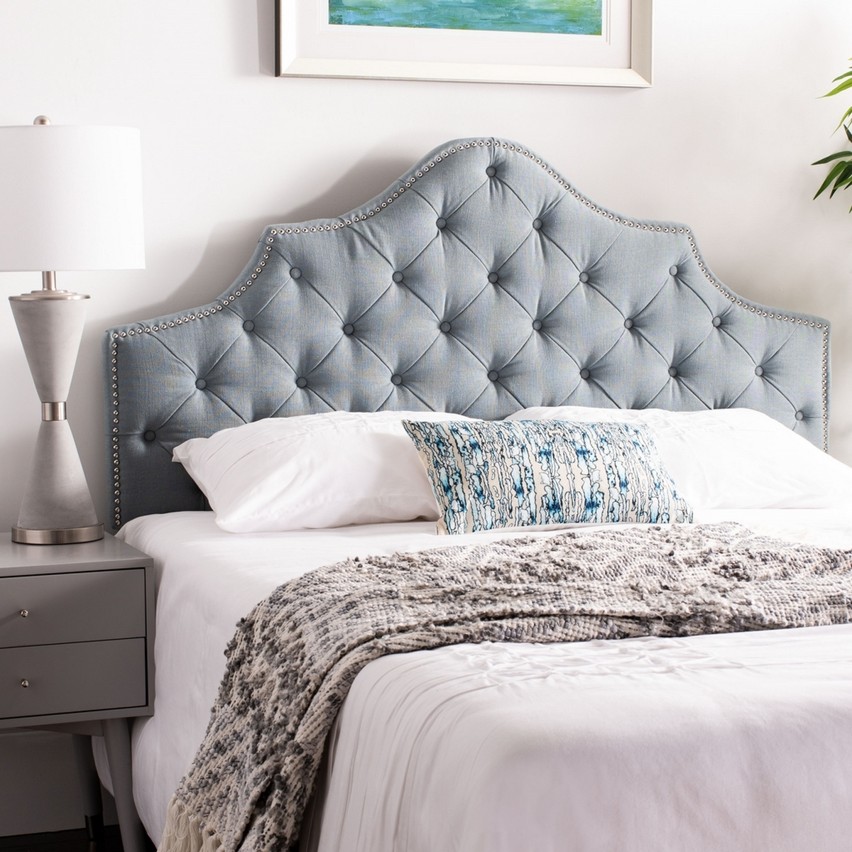 Arebelle Sky Blue Tufted Headboard Headboards Furniture