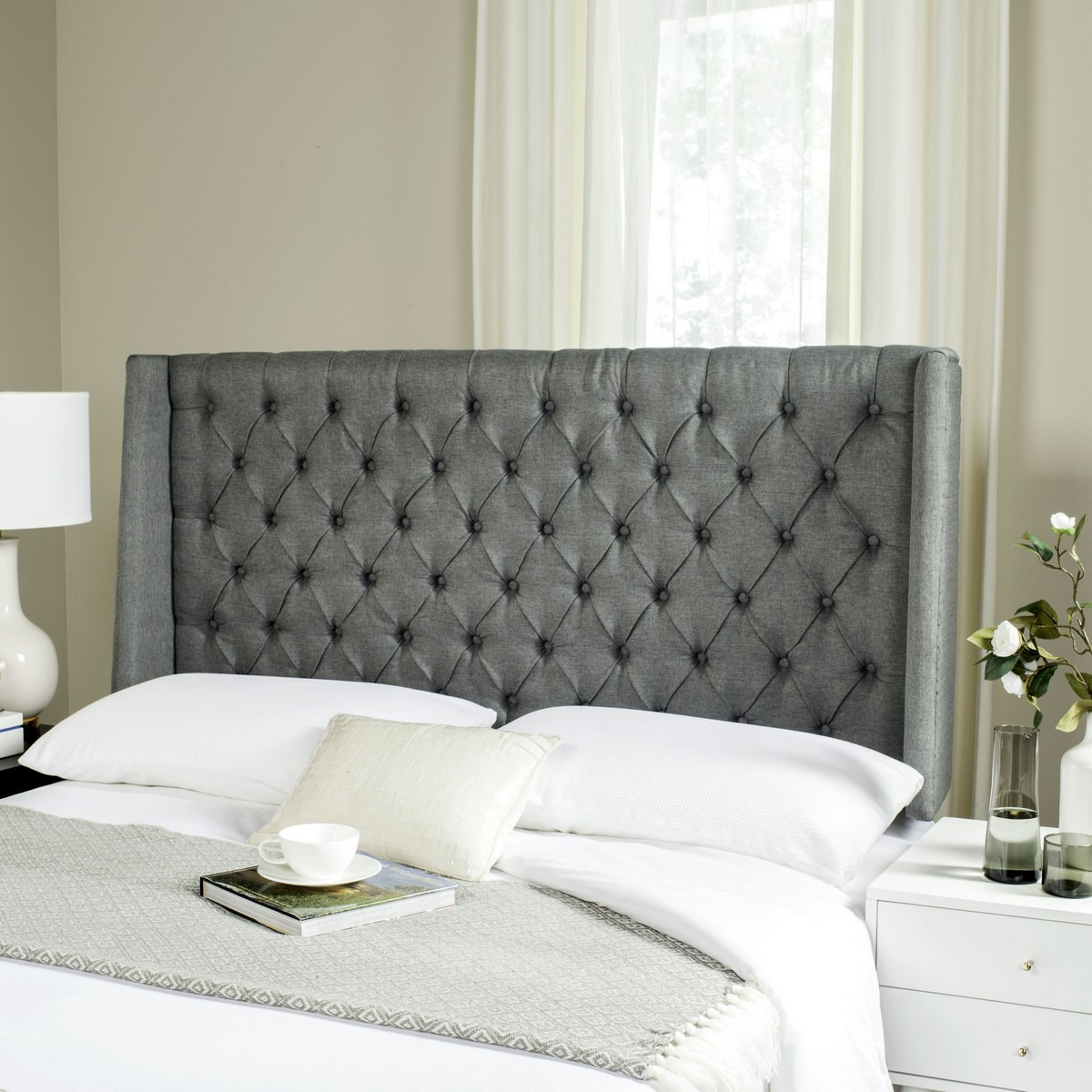 London Grey Linen Tufted Winged Headboard Flat Nail