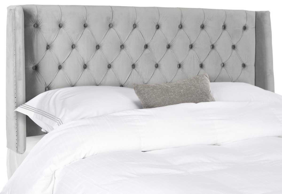 winged web headboard king bed crushed or fabric sandringham silver crush grey