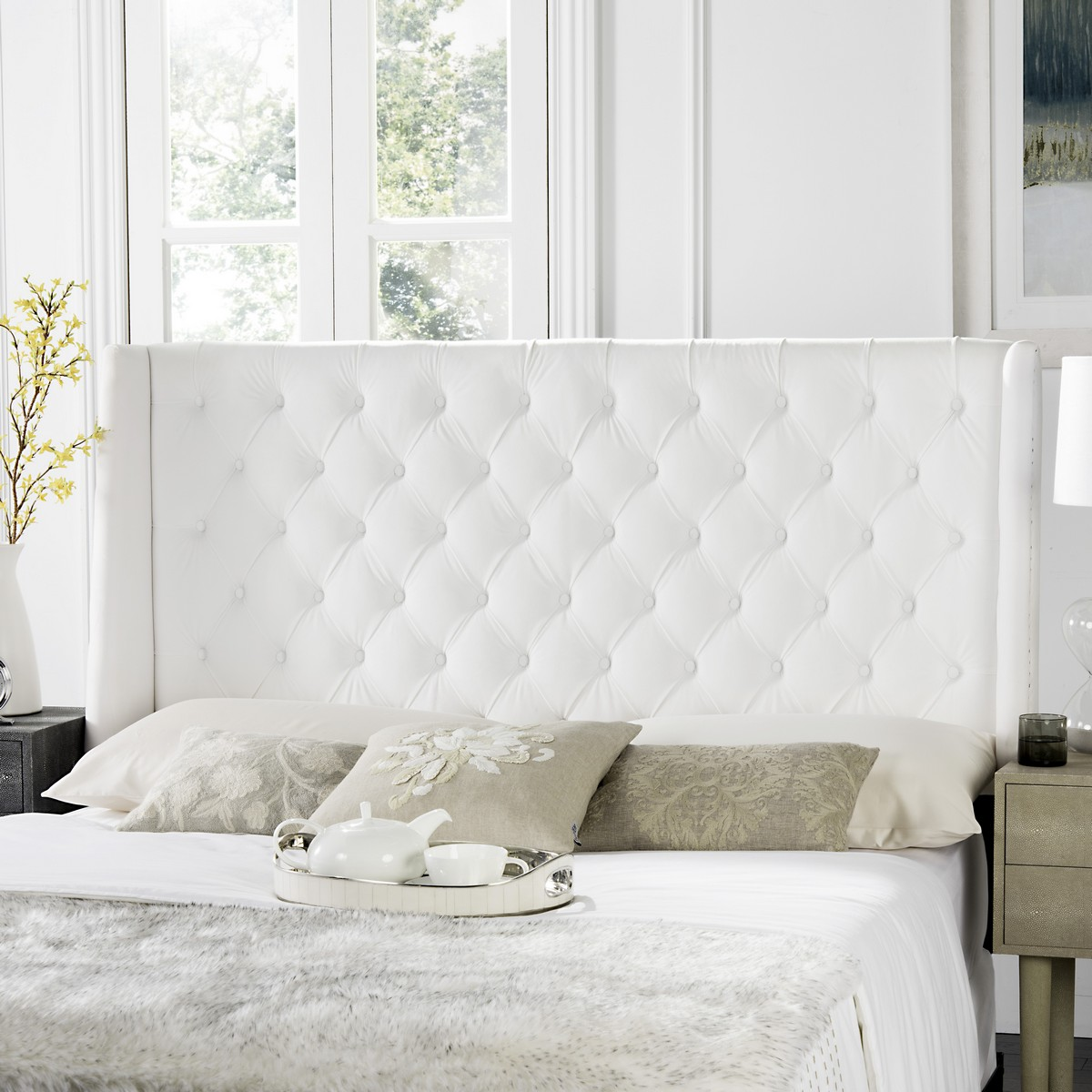 London White Tufted Winged Headboard Flat Nail Heads