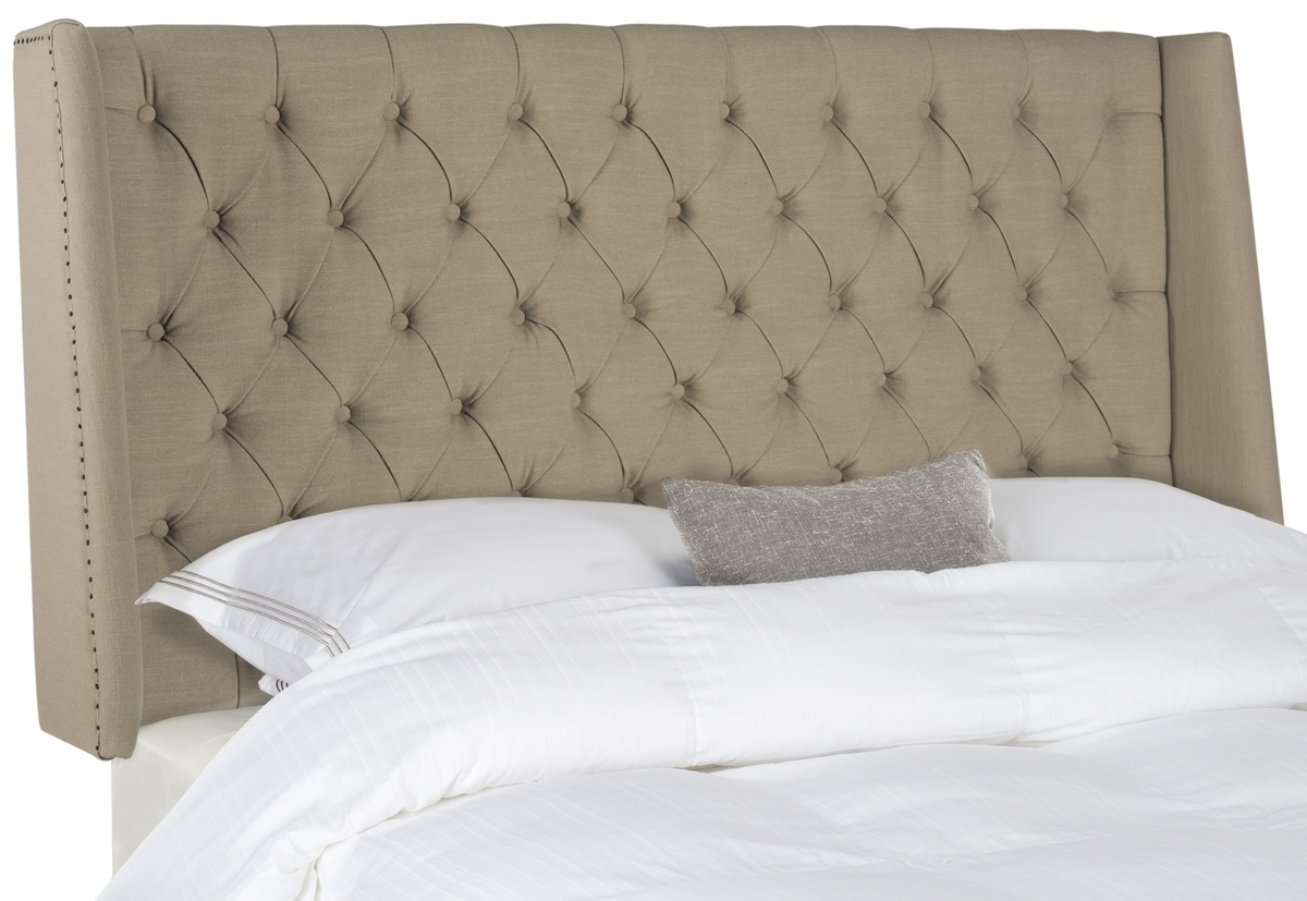 London Taupe Tufted Linen Headboard  Flat Nail Heads