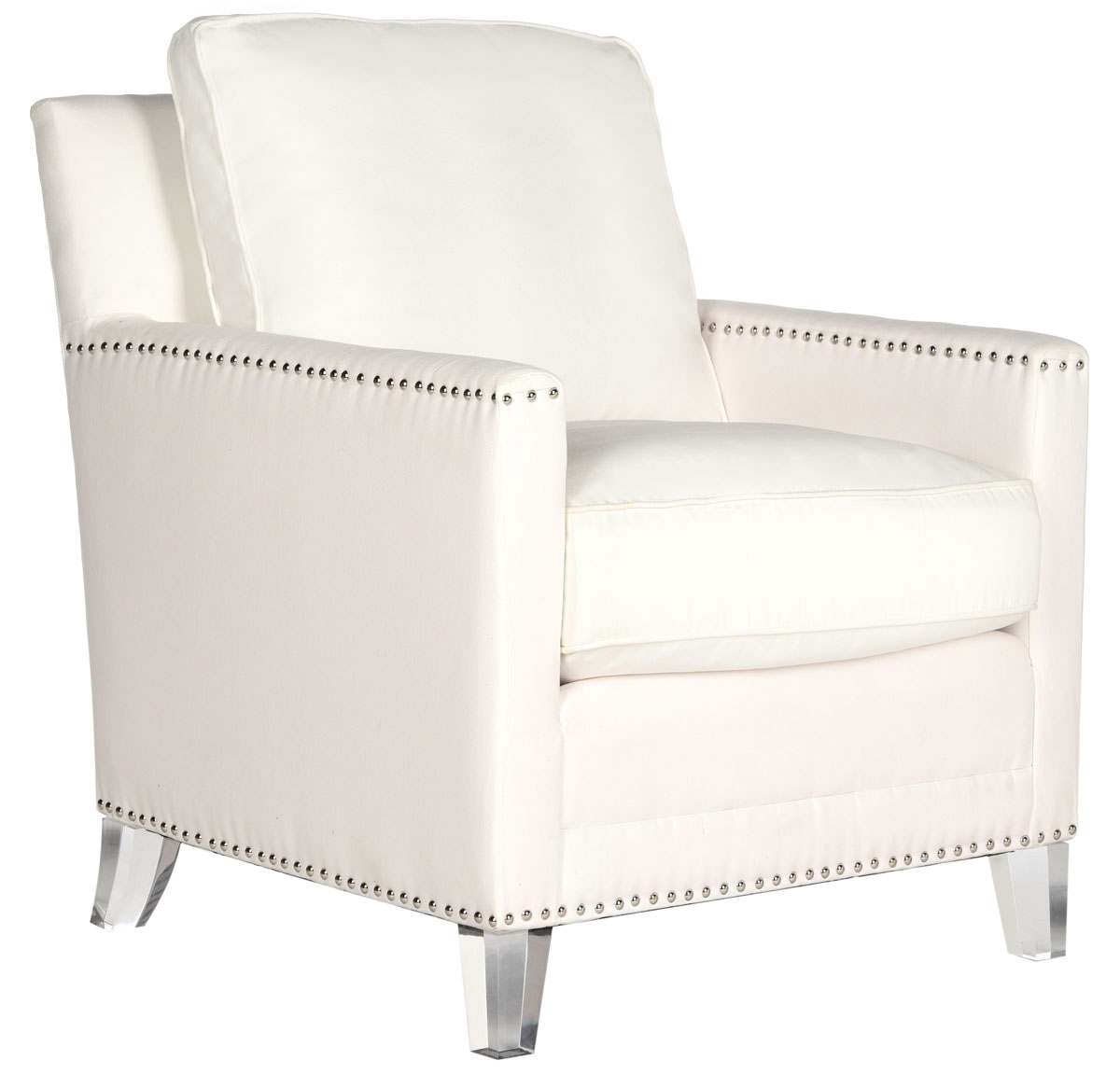 Hollywood Glam Tufted Acrylic White Club Chair W Silver Nail Heads Mcr4213a Accent Chairs