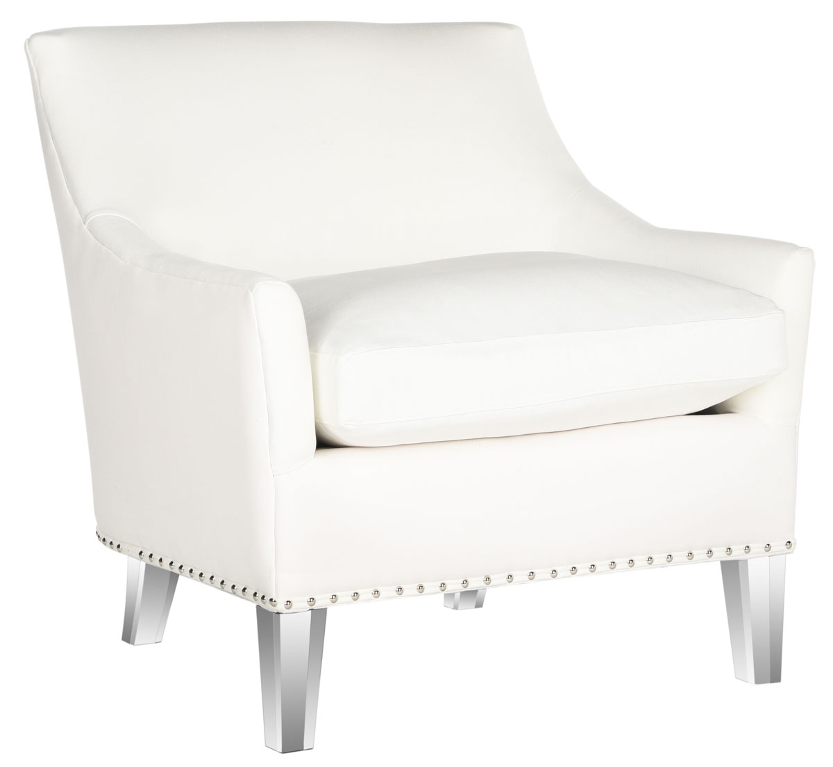 Hollywood Glam Tufted Acrylic White Club Chair W Silver Nail Heads Mcr4214a Accent Chairs