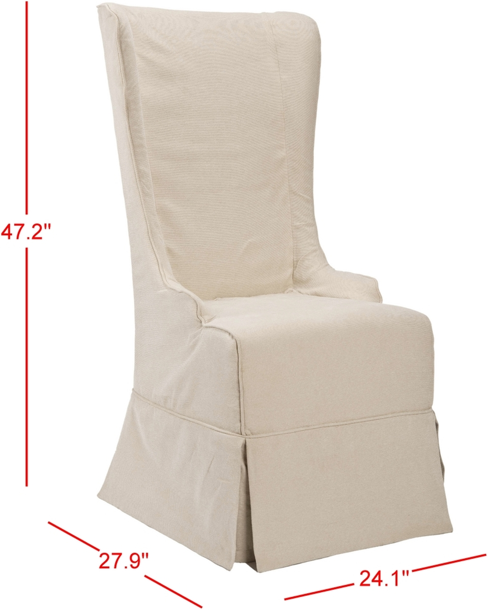 The Slip Covered Bacall High Back Chair, In Natural Cream, Absolutely  Commands Attention. With A Reaching, Slightly Tapered Backrest And Sloping  Arms, ...