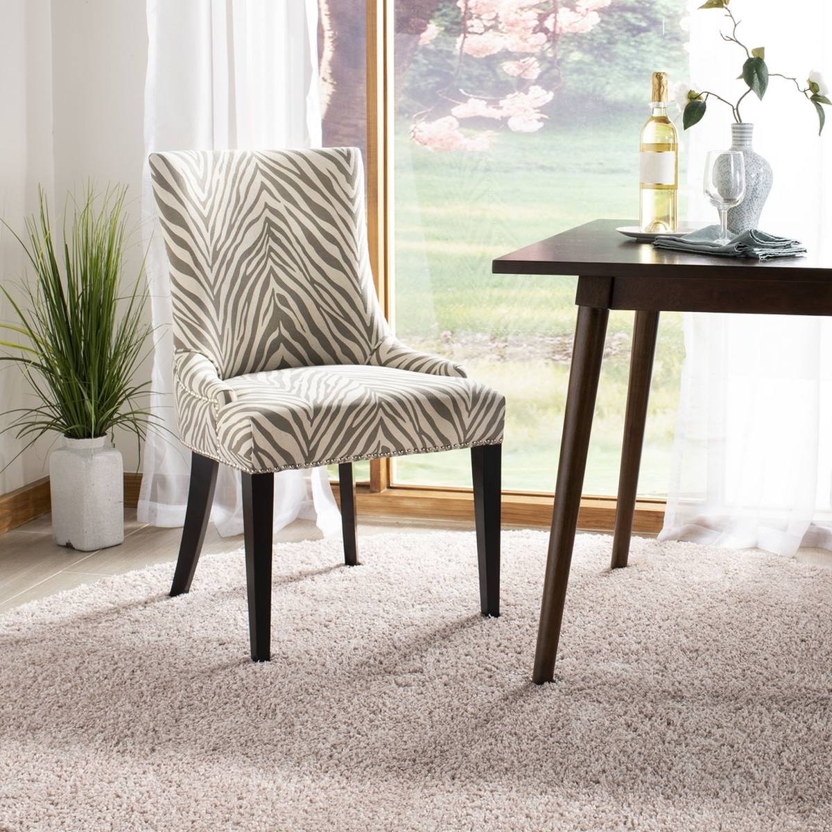becca 19h grey white zebra dining chair silver nail heads mcr4502n dining chairs