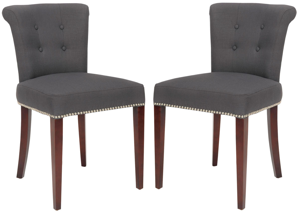 arion 21h linen ring chair nickel nail heads set of 2 mcr4514a set2 dining chairs