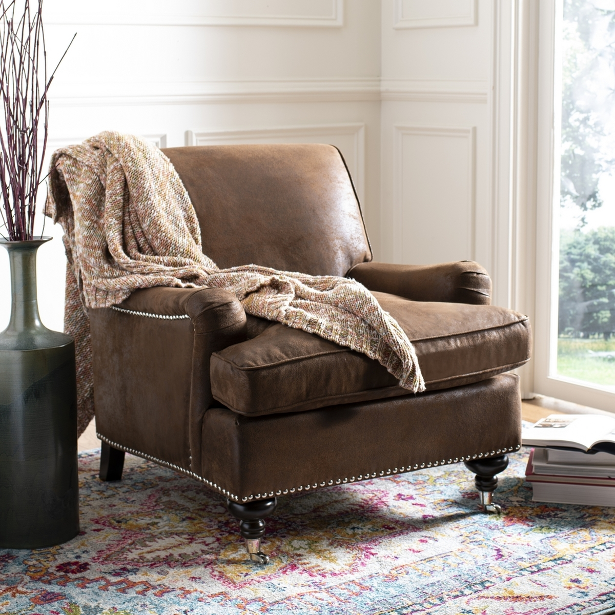Brown Faux Leather Armchair Accent Chairs Safavieh Com