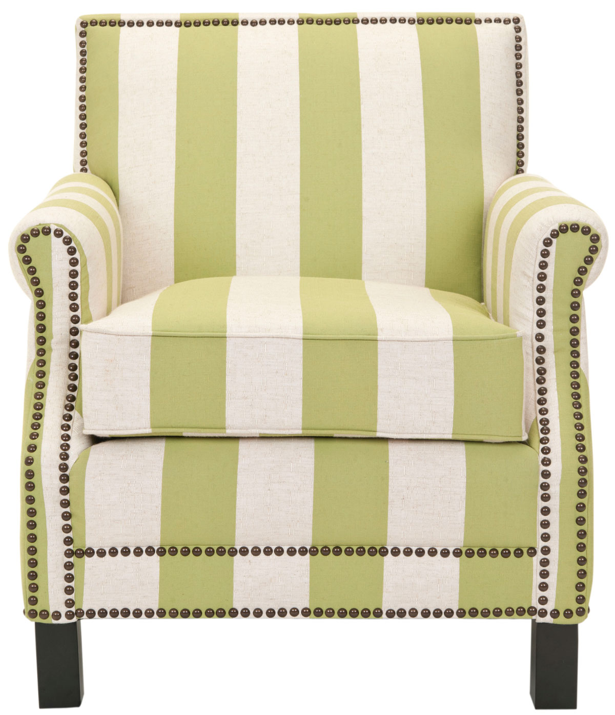 EASTON CLUB CHAIR WITH STRIPES   BRASS NAIL HEADS MCR4572C ACCENT CHAIRS