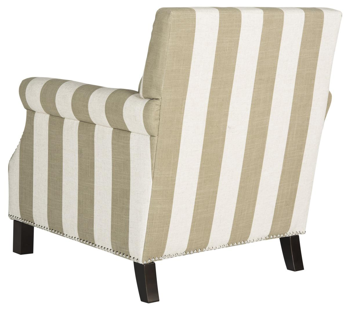 EASTON CLUB CHAIR WITH AWNING STRIPES   SILVER NAIL HEADS MCR4572K ACCENT  CHAIRS