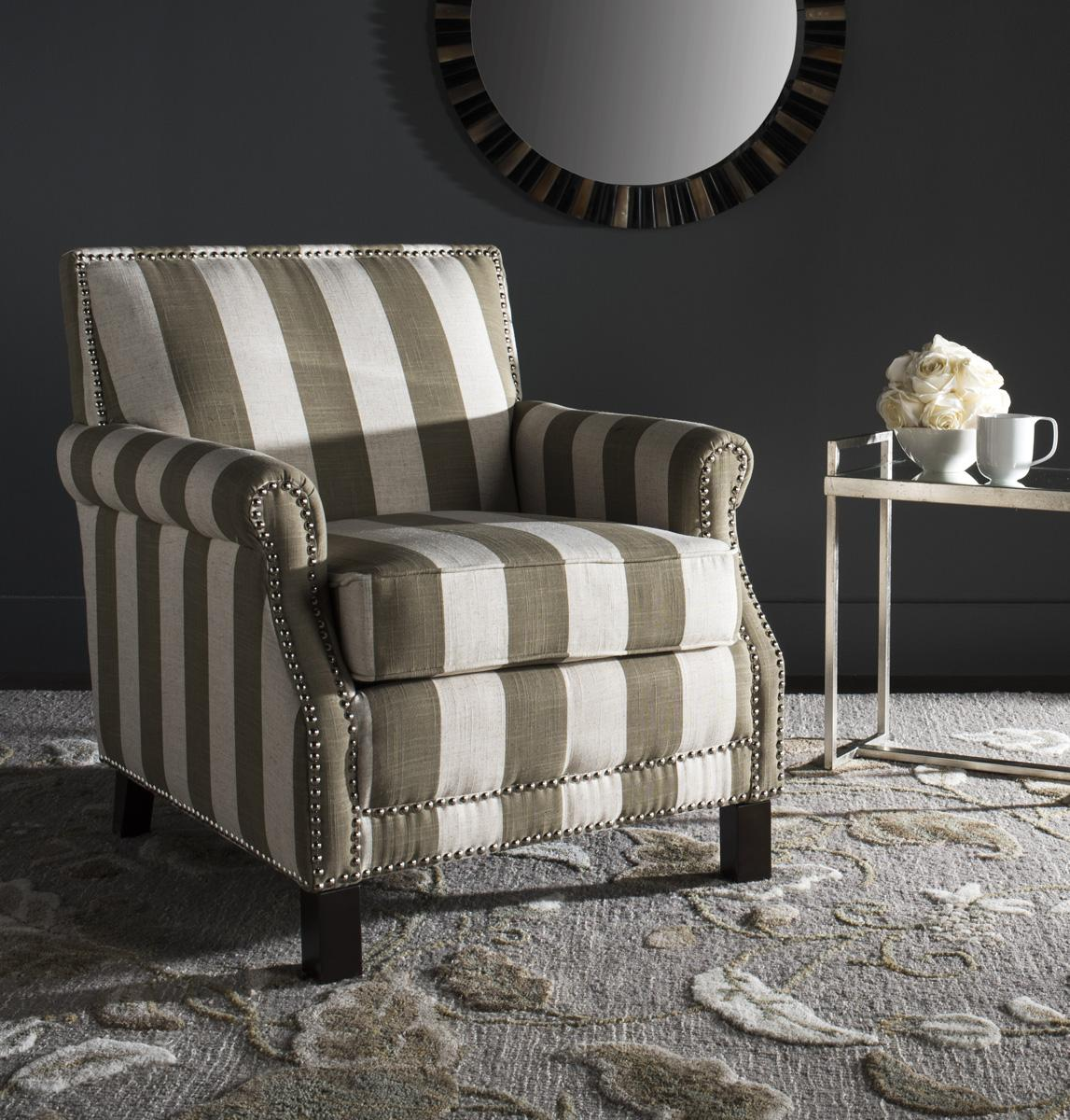 Beige Amp White Striped Accent Chair Safavieh Com