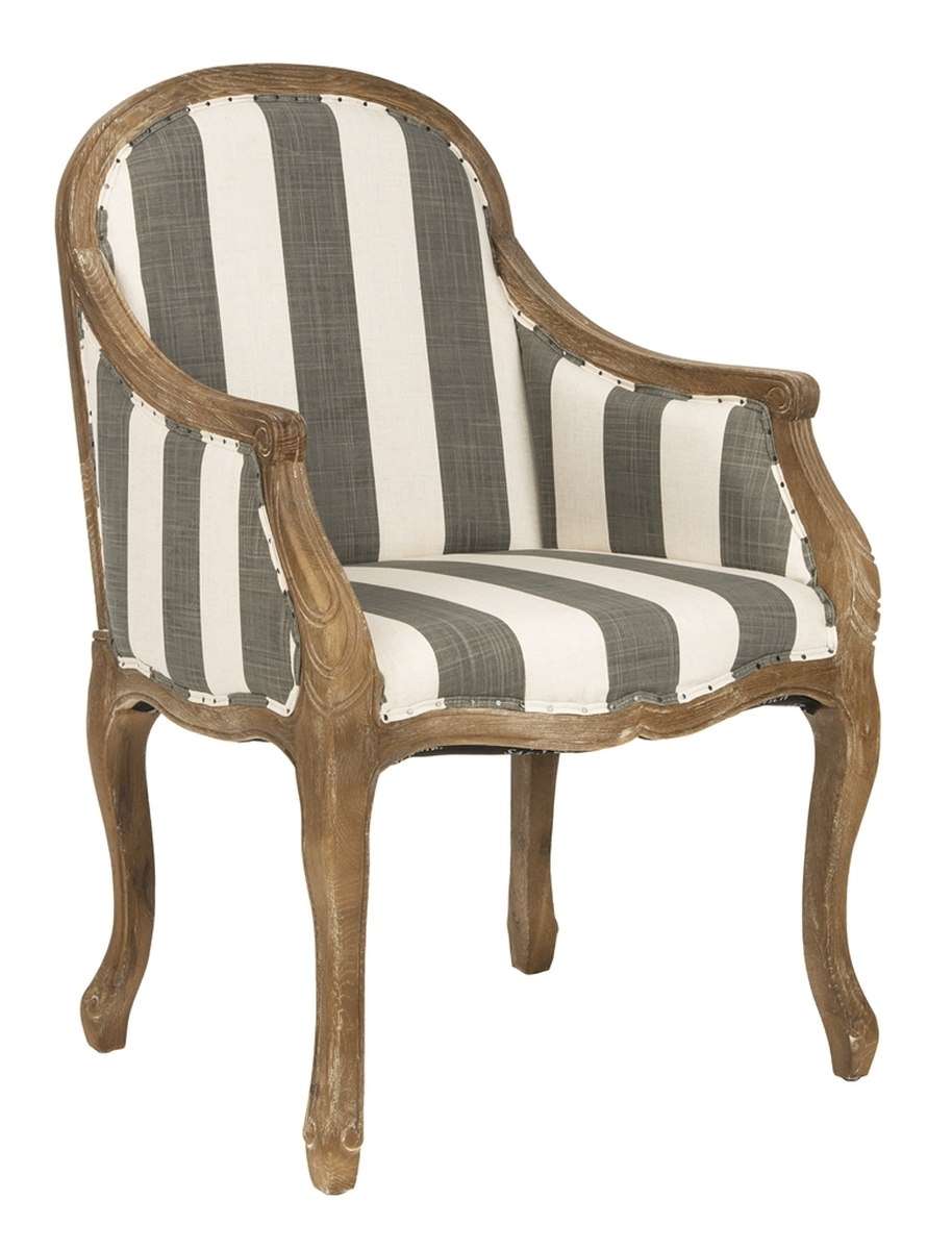 ESTHER ARM CHAIR WITH AWNING STRIPES   FLAT BLACK NAIL HEADS MCR4575B  ACCENT CHAIRS