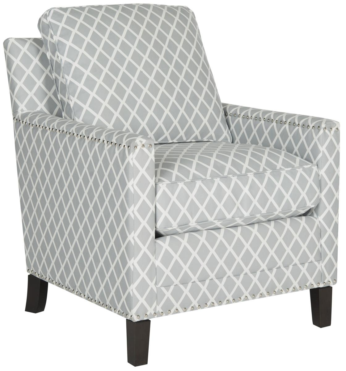 BUCKLER CLUB CHAIR   SILVER NAIL HEADS MCR4613E ACCENT CHAIRS. Color: Grey  / White