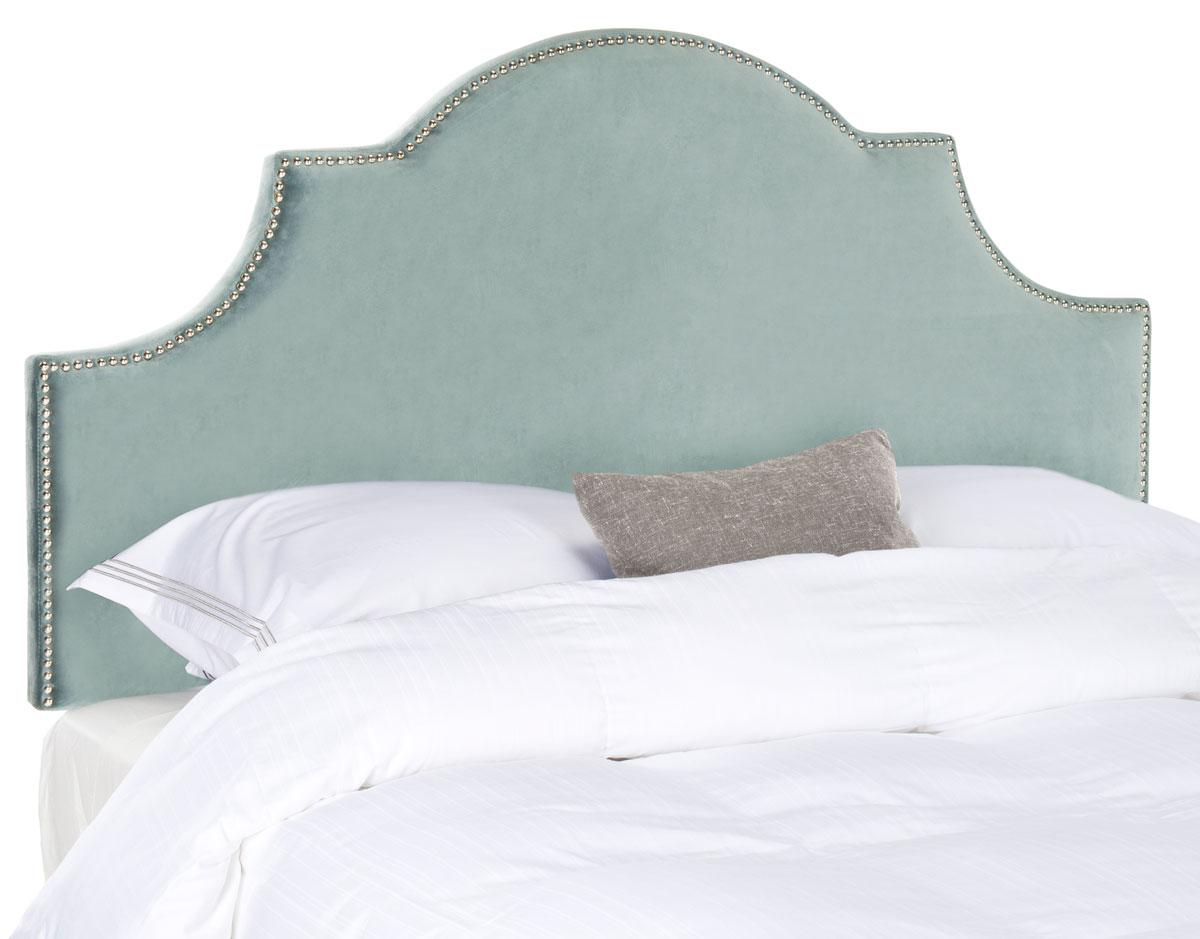 Hallmar Wedgewood Blue Arched Headboard - Silver Nail Head ...