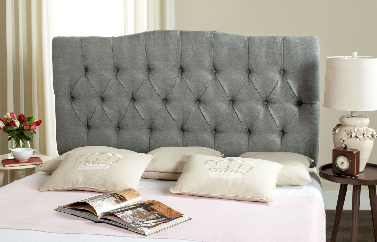 Axel Grey Linen Tufted Headboard Headboards Furniture By