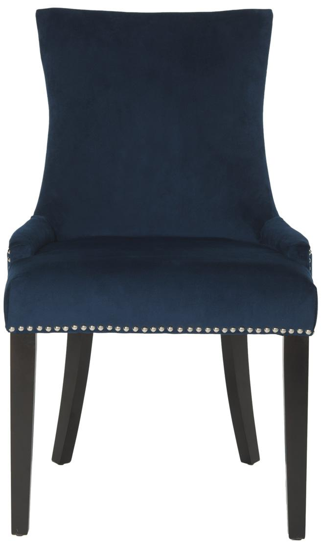 navy blue dining chairs modern color dining back define this set of two dining chairs upholstered in cotton velvet navy blue nailhead detailing and birch legs chic espresso finish enhance navy cushioned dining chairs safaviehcom