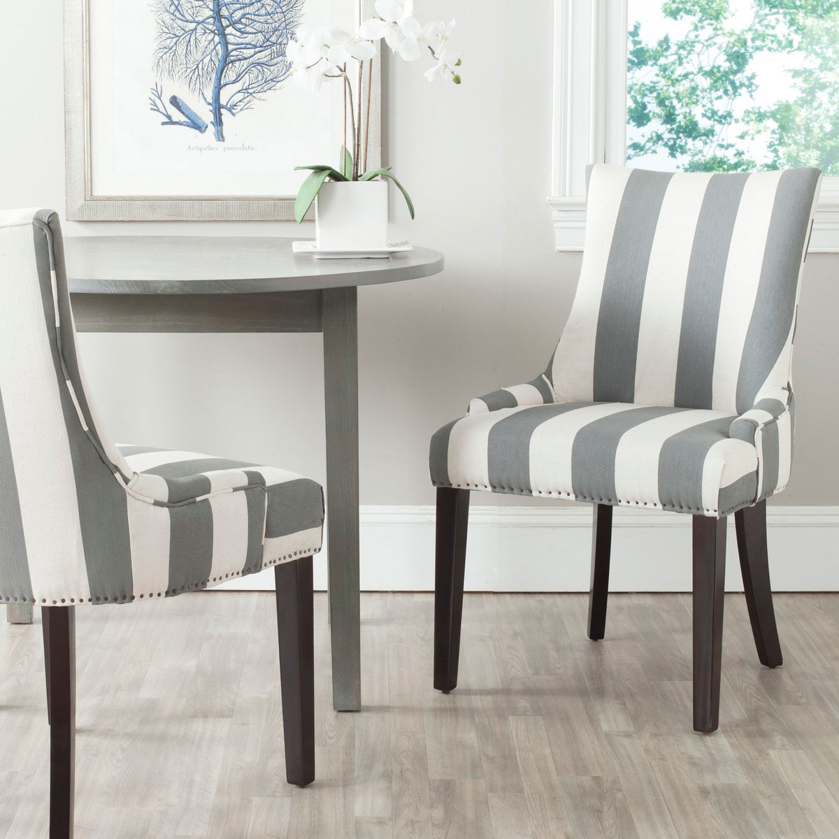 Lester 19 H Awning Stripes Dining Chair Set Of 2 Flat Nail Heads Mcr4709x Set2 Chairs