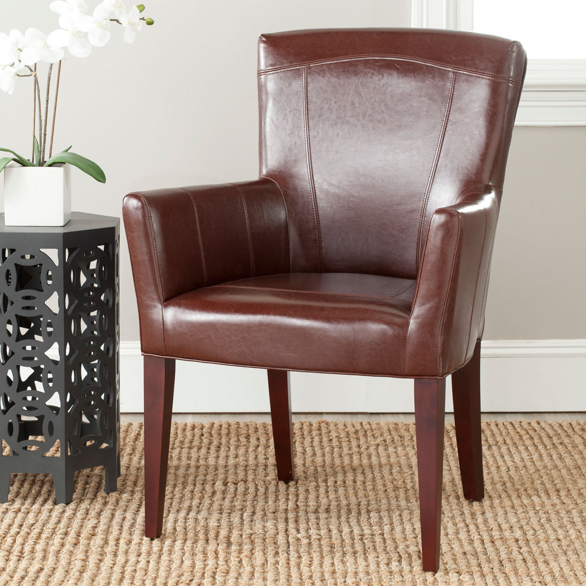 DALE ARM CHAIR MCR4710A ACCENT CHAIRS. Color: Brown Leather