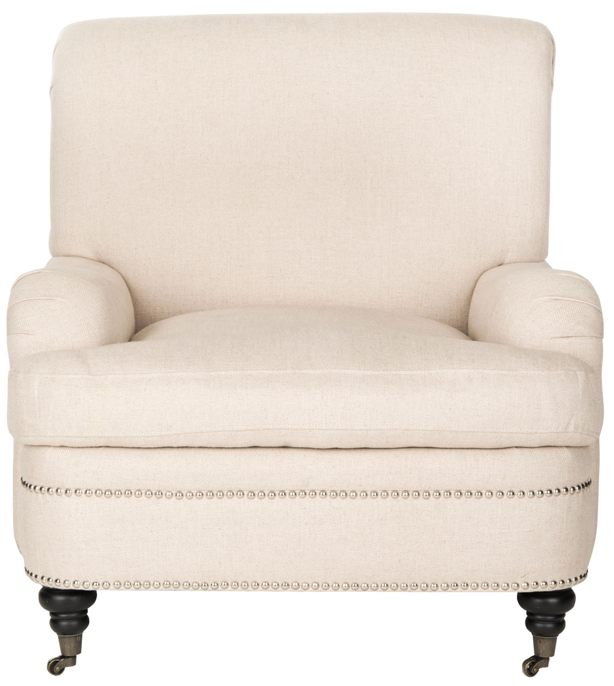SILVIA LINEN CLUB CHAIR   SILVER NAIL HEADS MCR4739A ACCENT CHAIRS