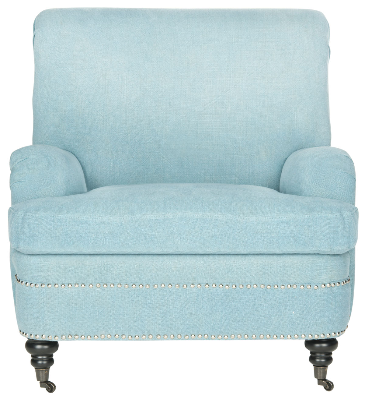 SILVIA LINEN CLUB CHAIR  SILVER NAIL HEADS MCR4739C ACCENT CHAIRS. Color: Light  Blue