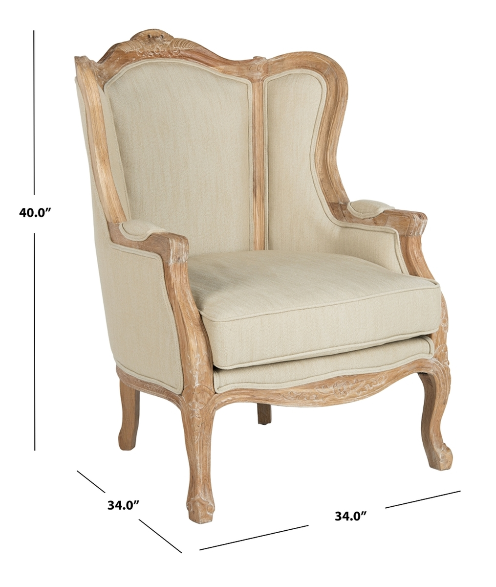 Bergere Upholstered Wingback Accent Chair Safavieh Com