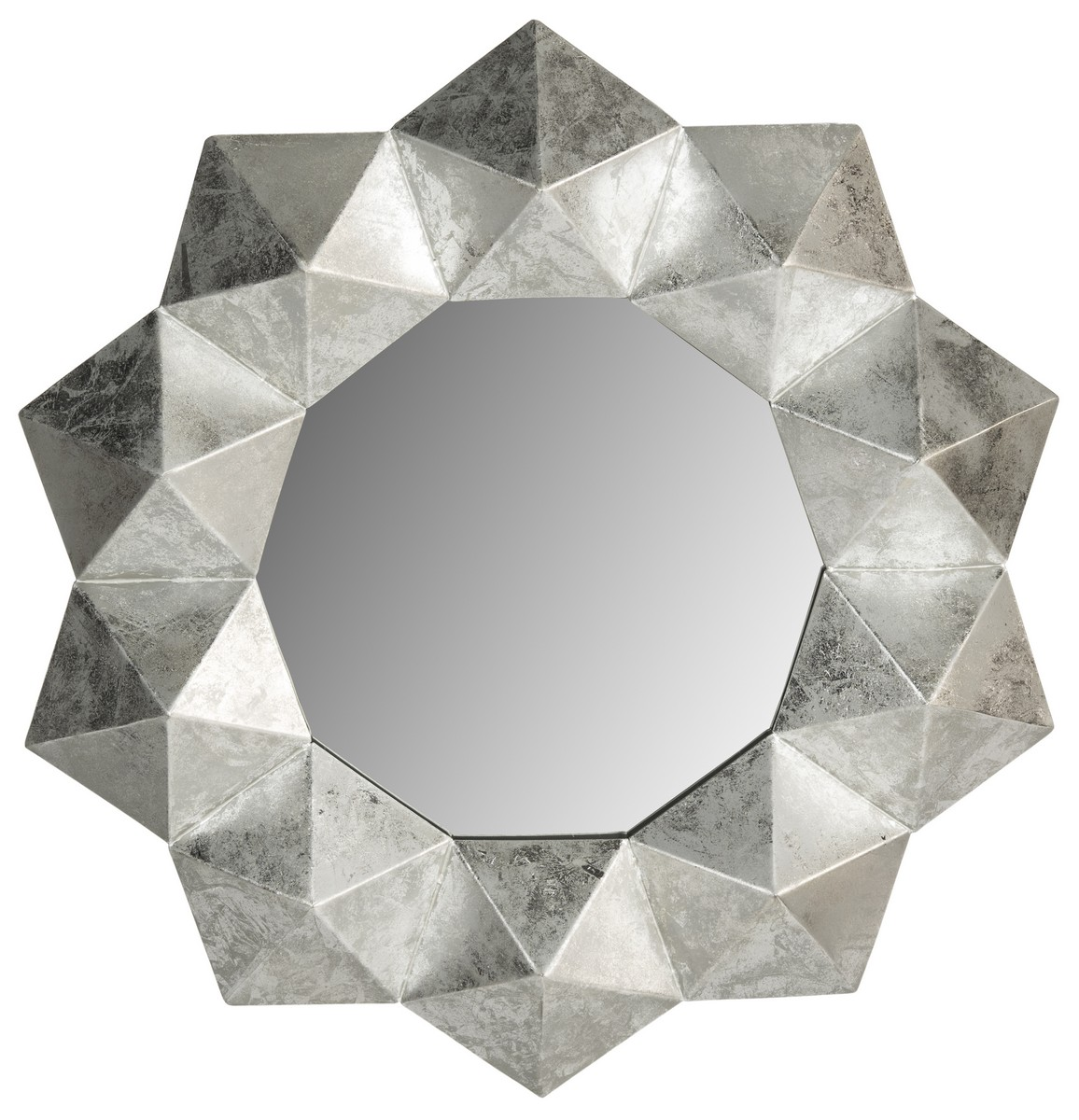 30 Inch Round Mirror Part - 33: ... Silver-leaf Mirror Is A Tribute To The Native Cultures Of South America  And Mexico. Artfully Crafted Of Iron, The 30-inch Round Mirror Is Hand  Finished ...