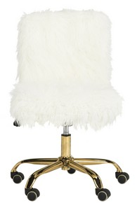 Amazing WHITNEY FAUX SHEEPSKIN GOLD LEG SWIVEL OFFICE CHAIR Item: OCH4505B Color:  White / Gold