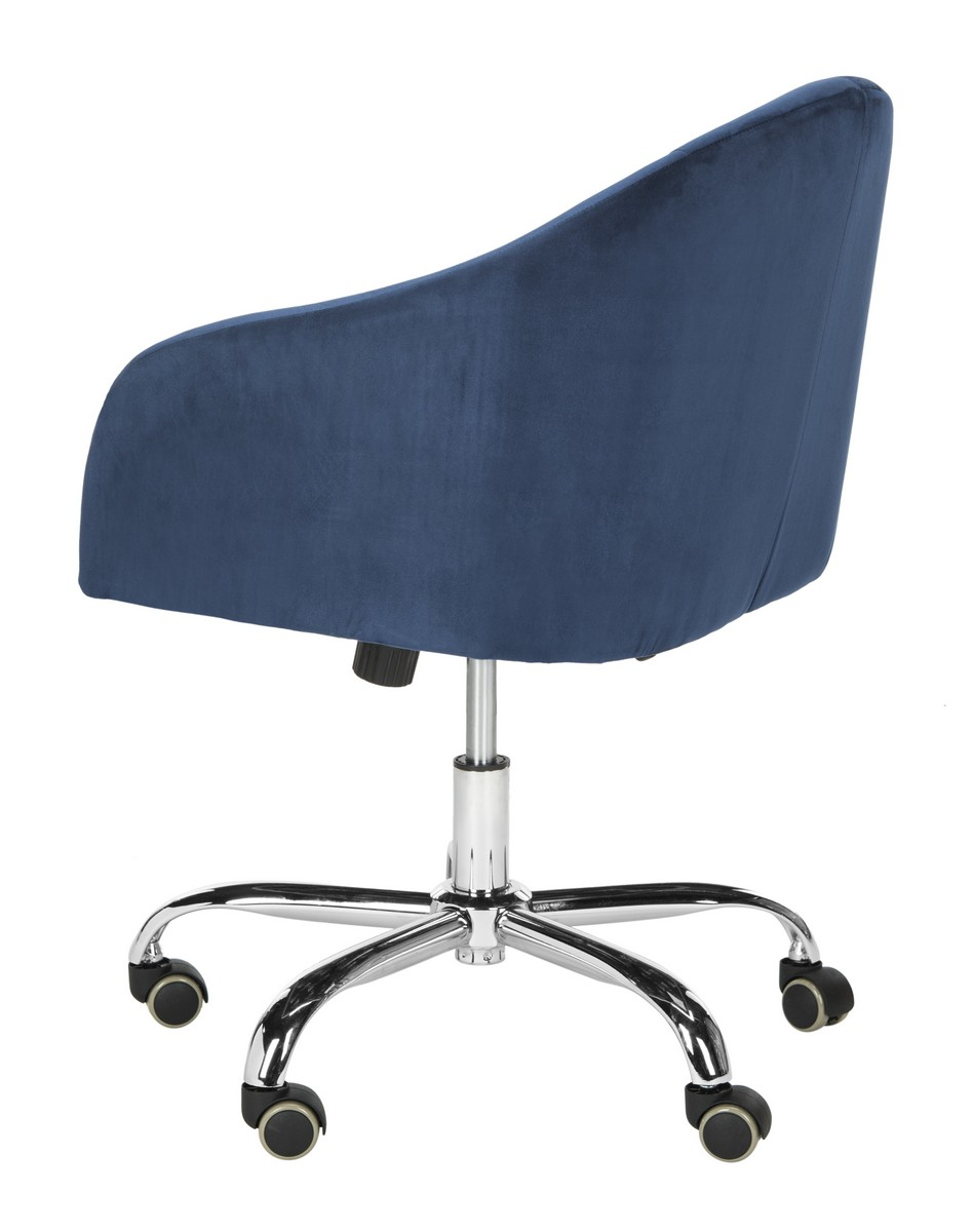 the ultimate office perk this tufted navy velvet chrome leg swivel office chair was designed to add style and substance to the home office