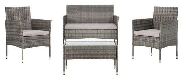 Pat7504b Patio Sets 4 Piece, Safavieh Outdoor Furniture Gray