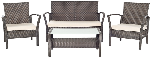 Pleasing Pat2006A Patio Sets 4 Piece Furniture By Safavieh Unemploymentrelief Wooden Chair Designs For Living Room Unemploymentrelieforg