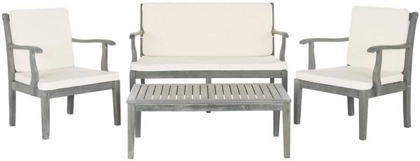 Pat6712b Patio Sets 4 Piece, Safavieh Outdoor Furniture Gray