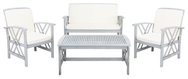 Pat7008b Patio Sets 4 Piece, Safavieh Outdoor Furniture Gray