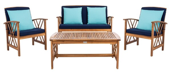 Pat7008c Patio Sets 4 Piece, Safavieh Outdoor Furniture Gray