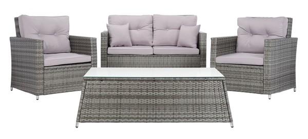 Pat7514b 2bx Patio Sets 4 Piece, Safavieh Outdoor Furniture Gray