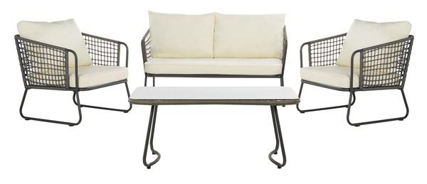 Pat9003a Patio Sets 4 Piece, Safavieh Outdoor Furniture Gray