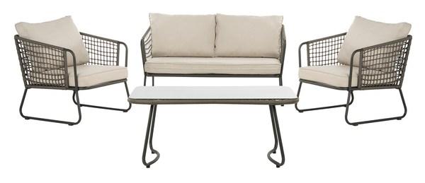 Pat9003c Patio Sets 4 Piece, Safavieh Outdoor Furniture Gray