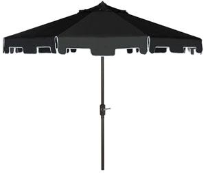 zimmerman 9 ft crank market umbrella with flap item pat8000h color black white - Black Patio Umbrella
